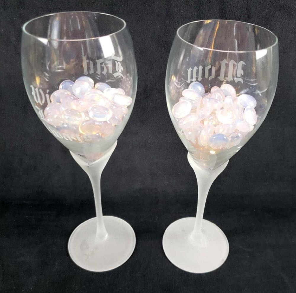 Lot 304: Mom and Dad Customized Wine Glasses