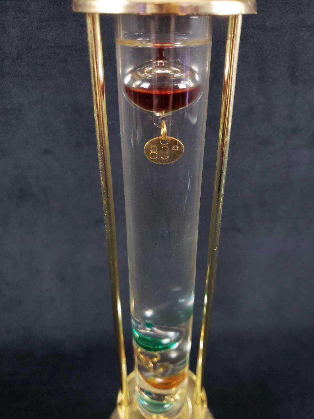 Lot 310: Vintage Glass and Brass Decorative Galileo Thermometer