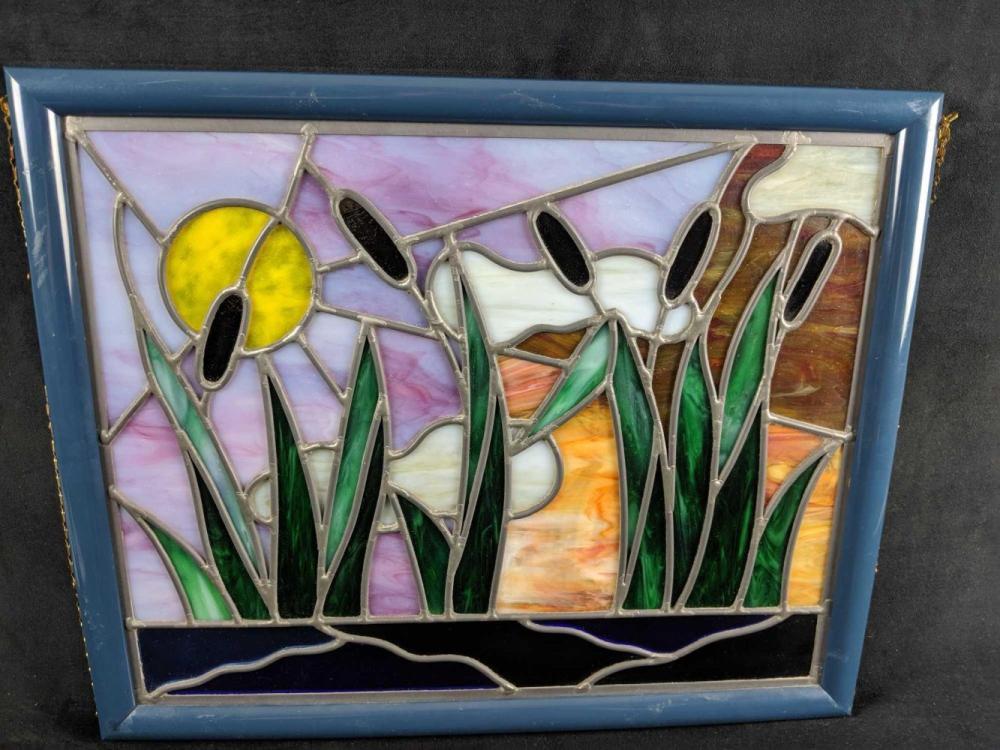Lot 334: Tiffany Style Heavy Framed Staind Glass Art
