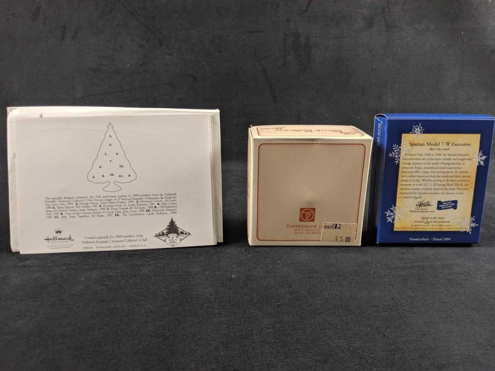 Lot 341: Lot Of Three Travel Ornaments With An Special Exclusive Hallmark Ornament