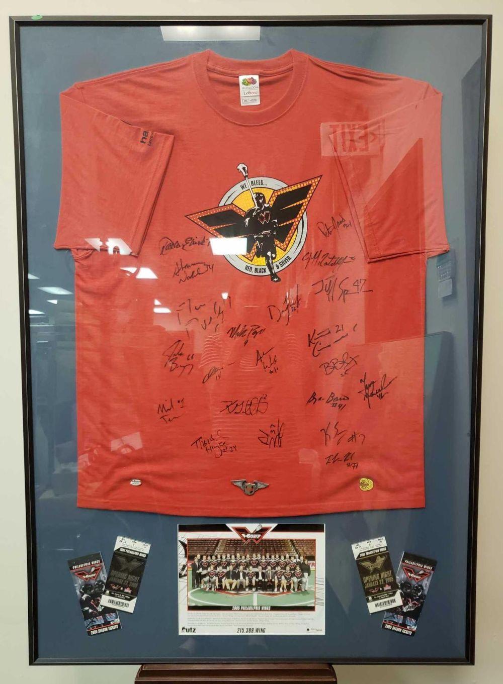 Lot 347: 2005 Philadelphia Wings Framed Signed Shirt
