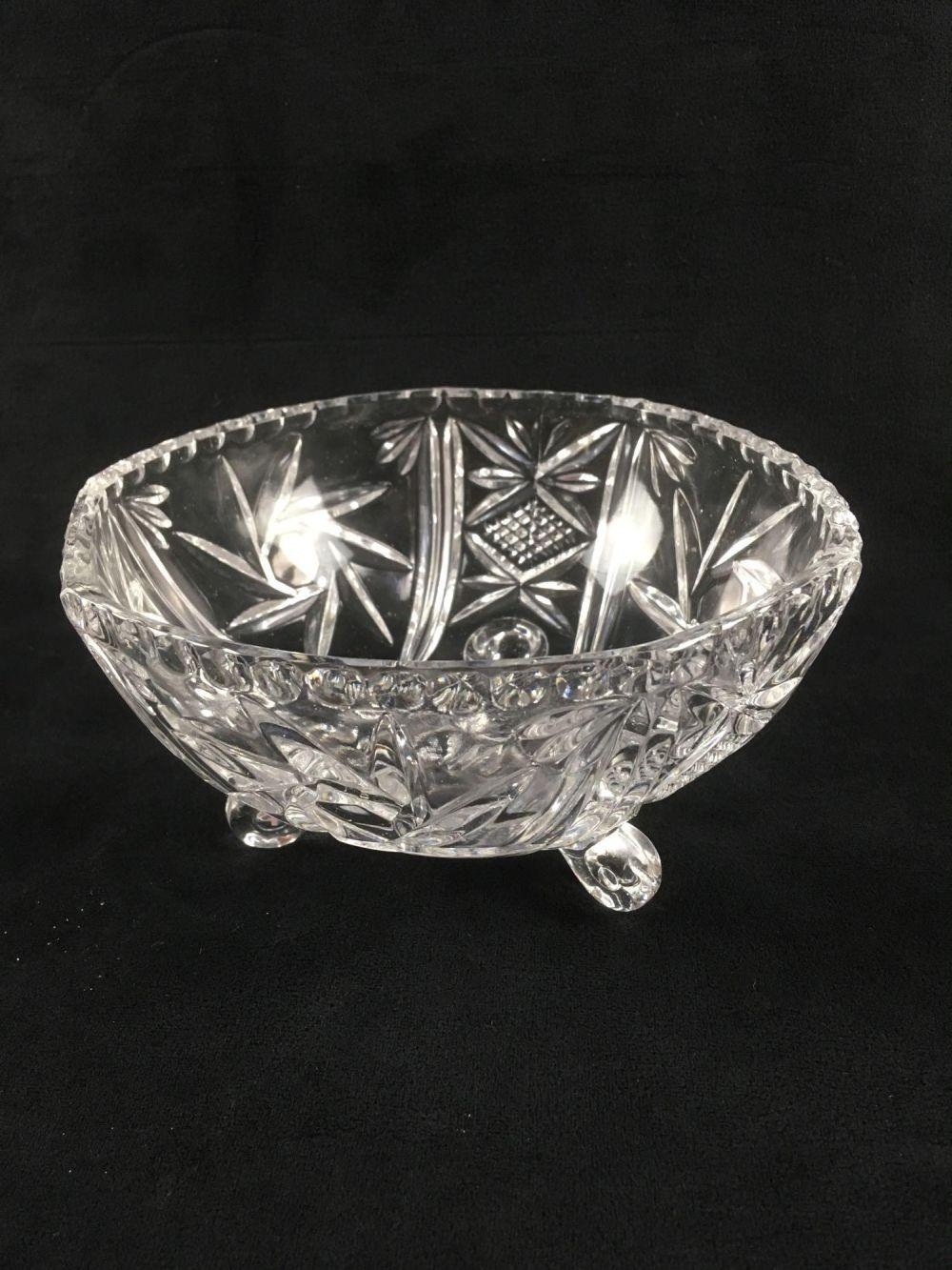 Lot 351: Clear Crystal Glass Footed Serving Bowl