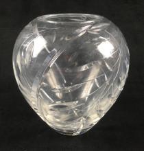 Lot 359: Cut Crystal Leaf Design Vase