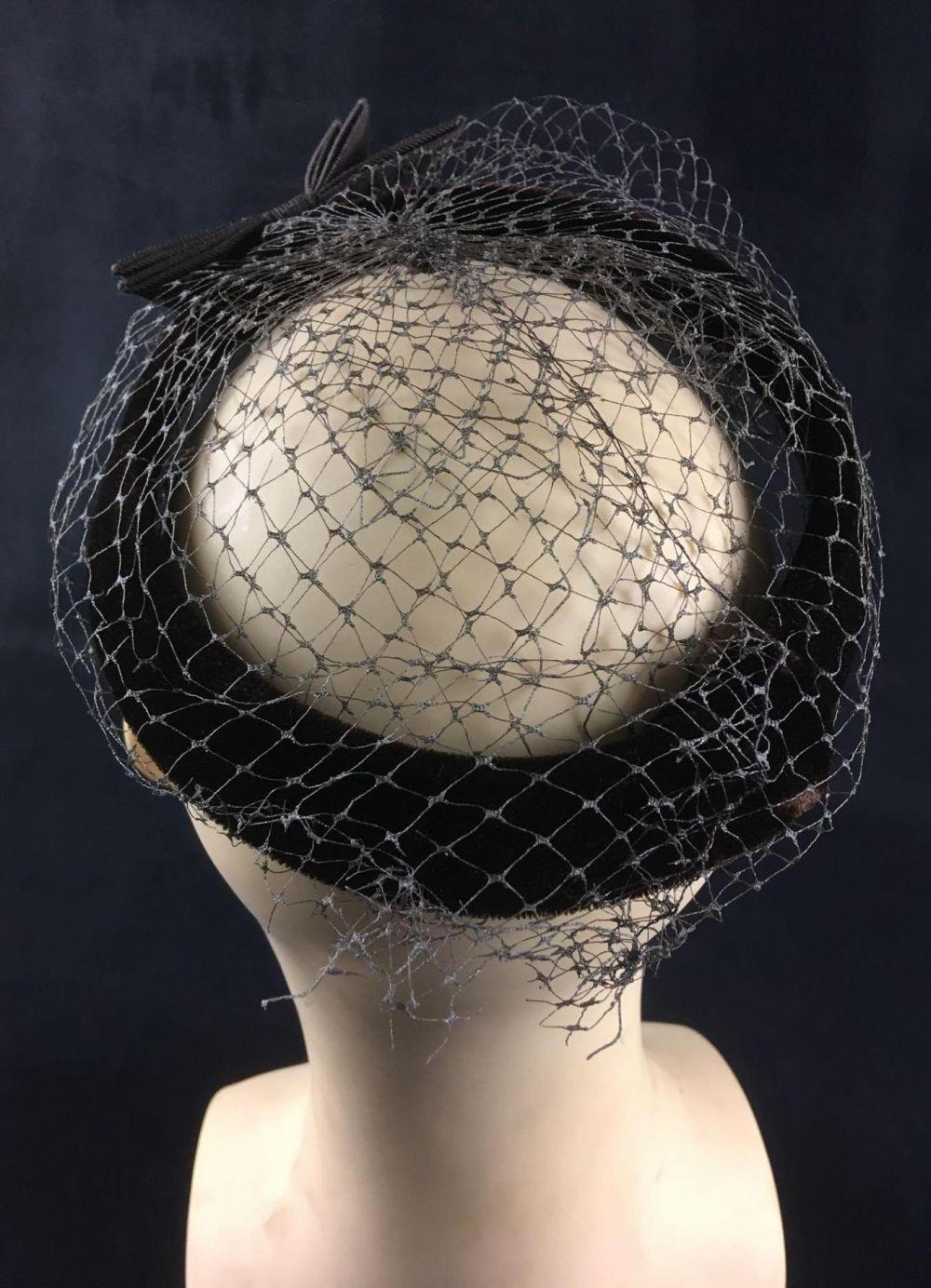 Lot 358: Veiled Velvet Halo Pillbox Hat