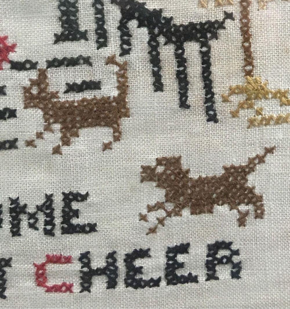 Lot 364: Vintage Welcome Is The Best Cheer Needlepoint Sampler