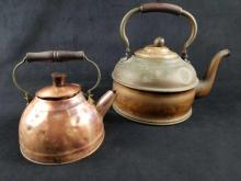 Lot 377: Early to Mid 1800s ROME Antique Pewter Lined Copper Tea Pots