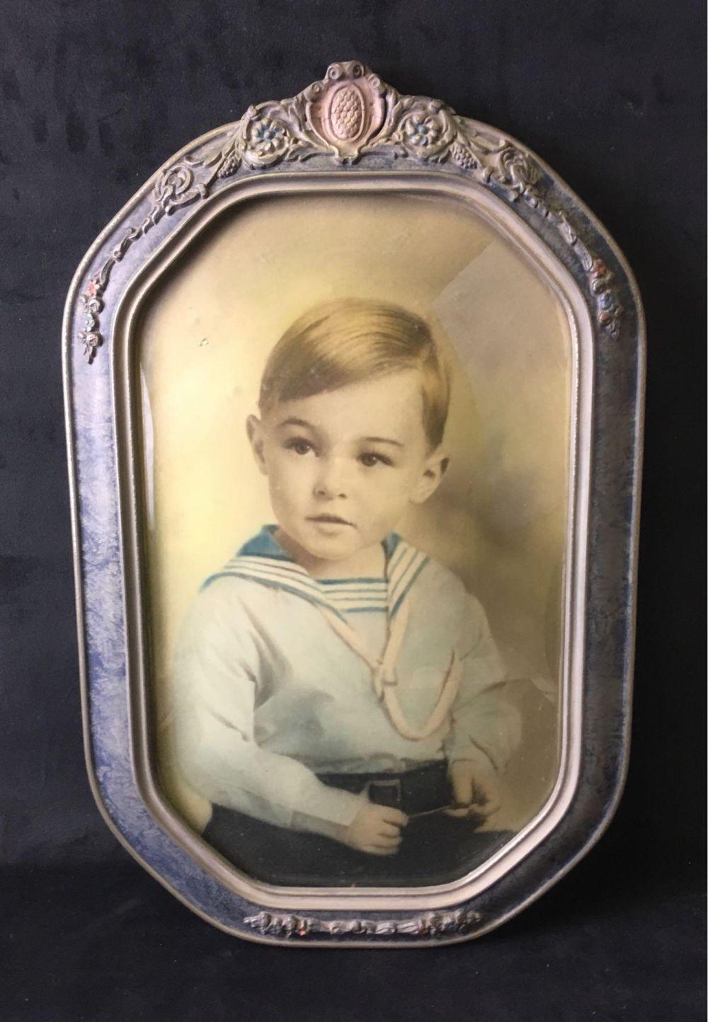 Lot 384: Vintage Convex Glass Frame with Photograph of Young Boy