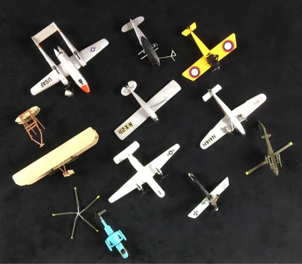Lot 387: Lot of 10 Bachmann Mini Planes Consisting of Misc Aircraft and Components