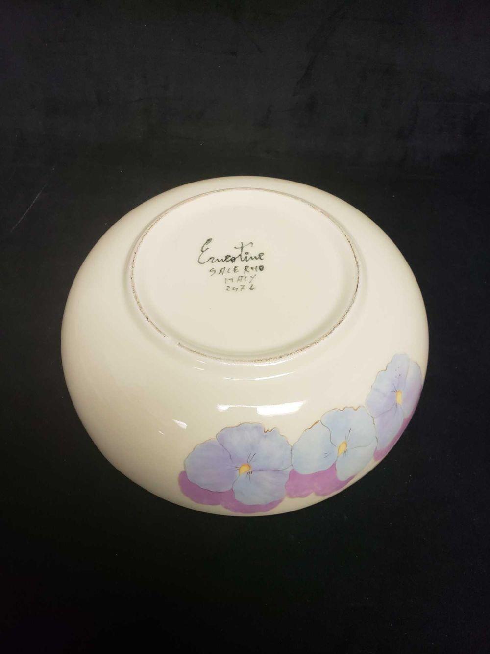 Lot 390: Ernestine Salermo Italian Pansy Serving Bowl