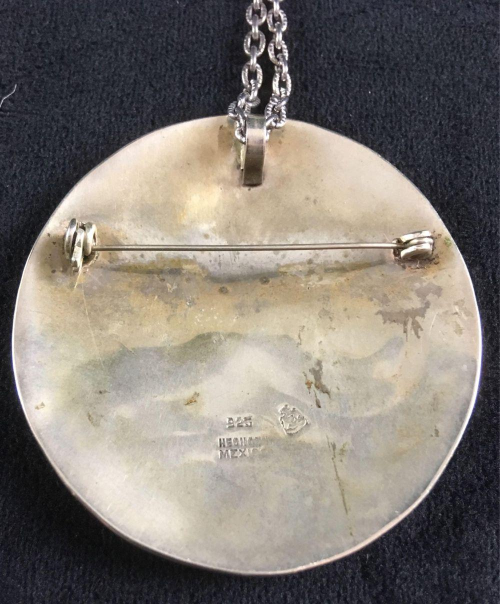 Lot 391: Sterling Silver and Mother of Pearl Brooch Pendant Necklace