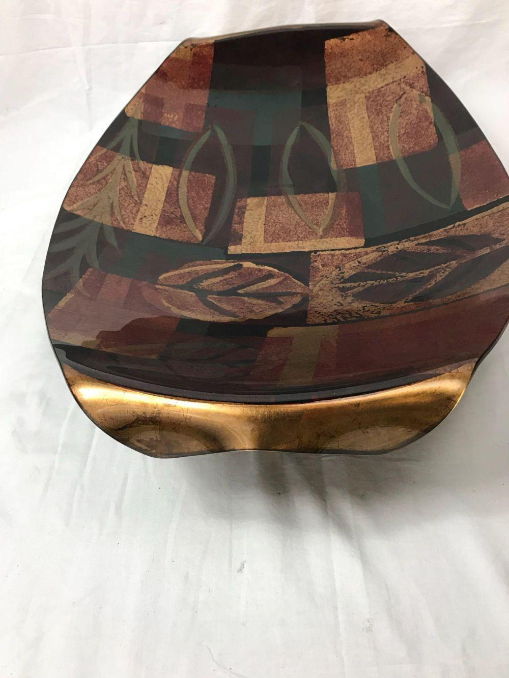 Lot 395: Sensational Tony Evans Art Glass Platter, Signed