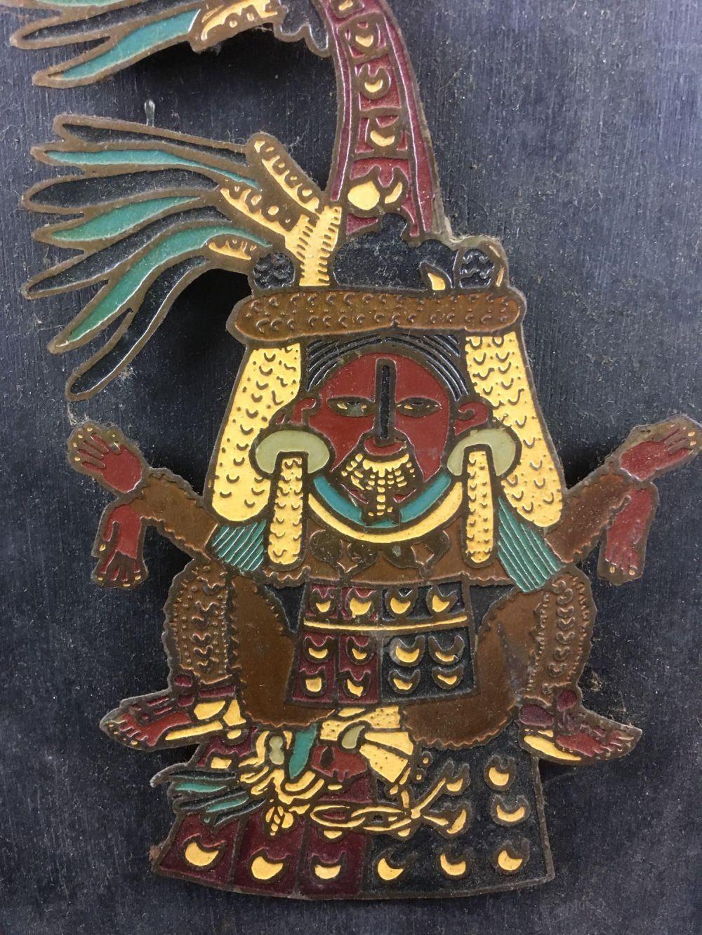 Lot 398: Ochpaniztli November Enamel Illustration Mounted on Wood