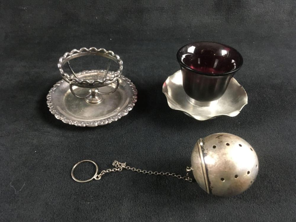Lot 400: Vintage Breakfast Set of Tea Infuser and Egg Stand and Small Bowl on Tray
