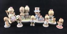 Lot 413: Lot of 9 Vintage Precious Moments Bisque Porcelain Figurines 1995 to 2001