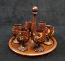 Lot 419: 1950s Havana Cuba Wooden Tray and 6 Mini Goblets