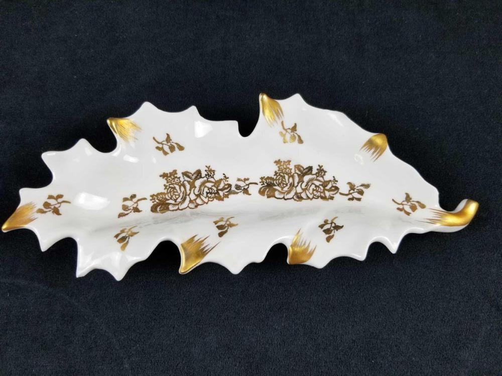 Lot 436: Vintage Gold and White Limoge Porcelain Leaf Shape Dish