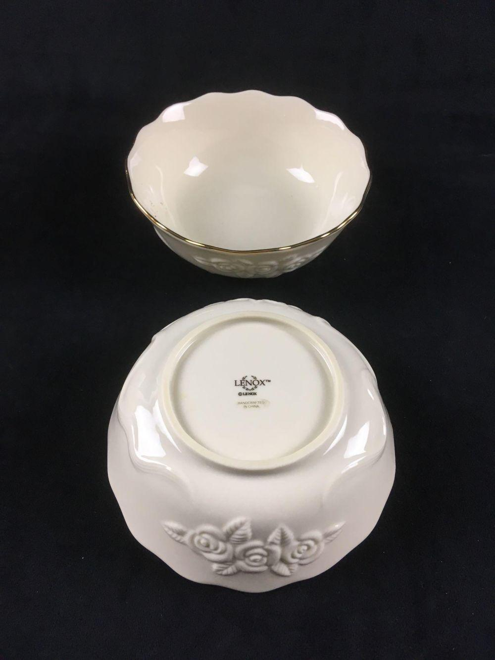 Lot 439: Pair of Vintage Lenox Nut or Candy Bowls in Rosebud Pattern with Gold Accent