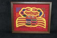 Lot 451: Two Framed Hand Stitched Applique Art Works