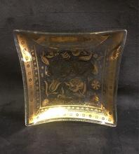 Lot 448: Vintage Georges Briard Gold Floral Condiment Tray