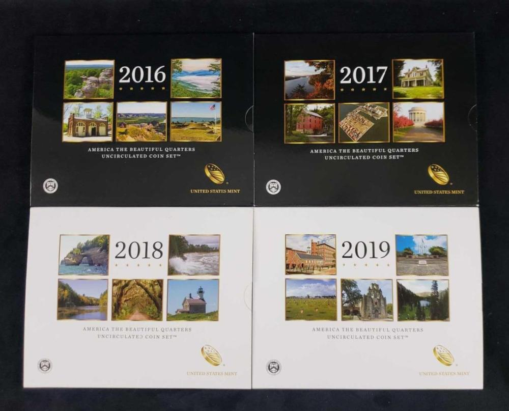 Lot 450: Lot of 4 America The Beautiful Uncirculated Coin Sets 2016 2017 2018 2019