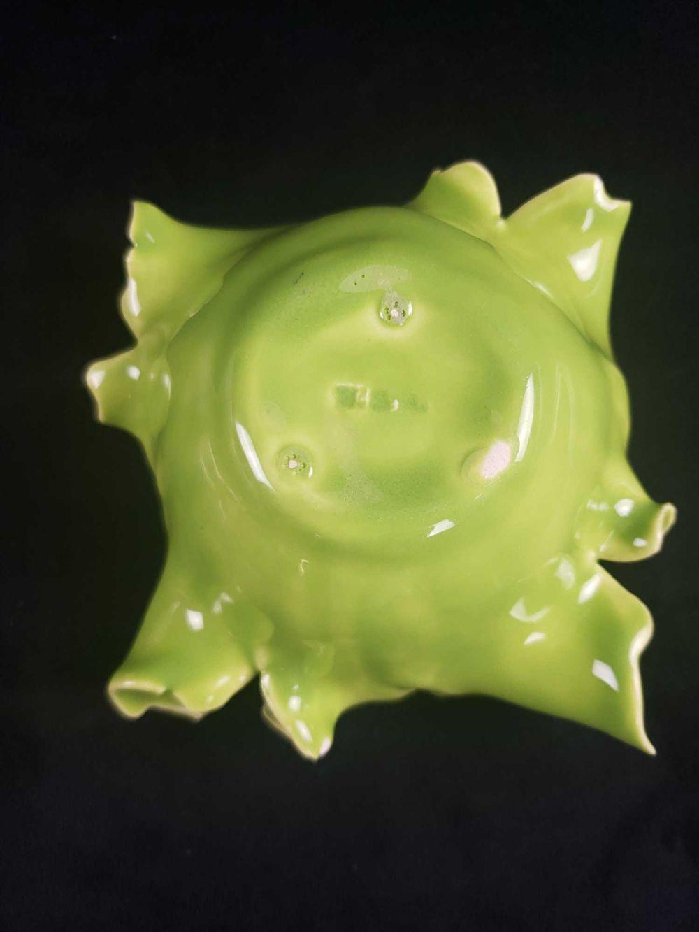 Lot 456: Pink Porcelain Lidded Bowl and Porcelain Lettuce Leaf Candle Holder