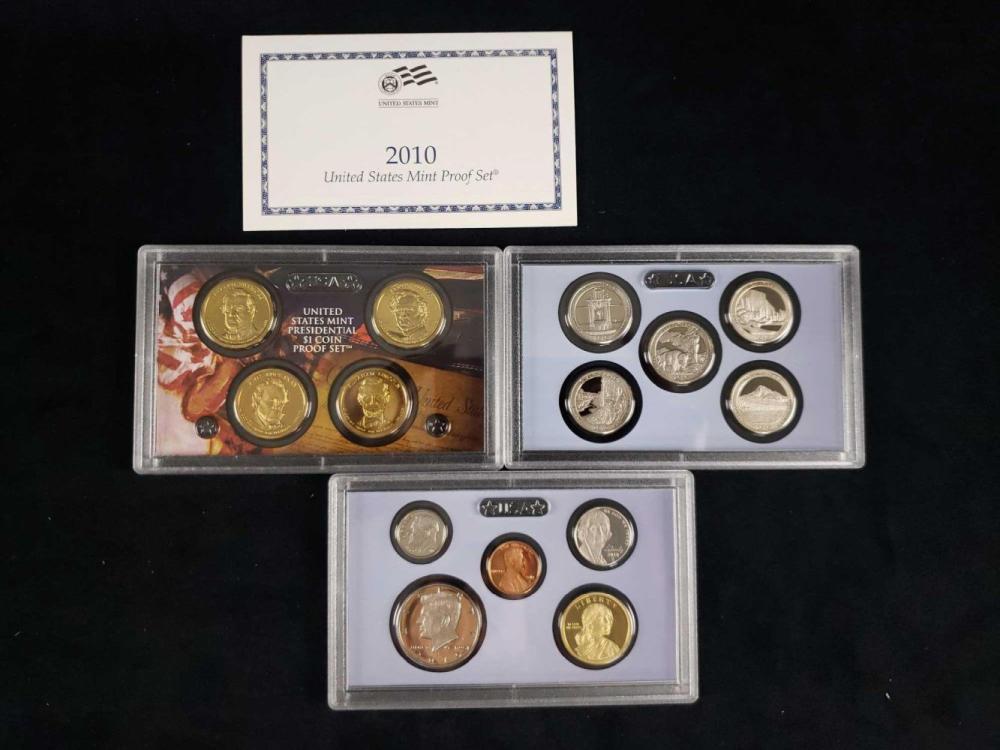 Lot 465: 4 United States Mint Proof Sets 1999 2003 2009 2010 C