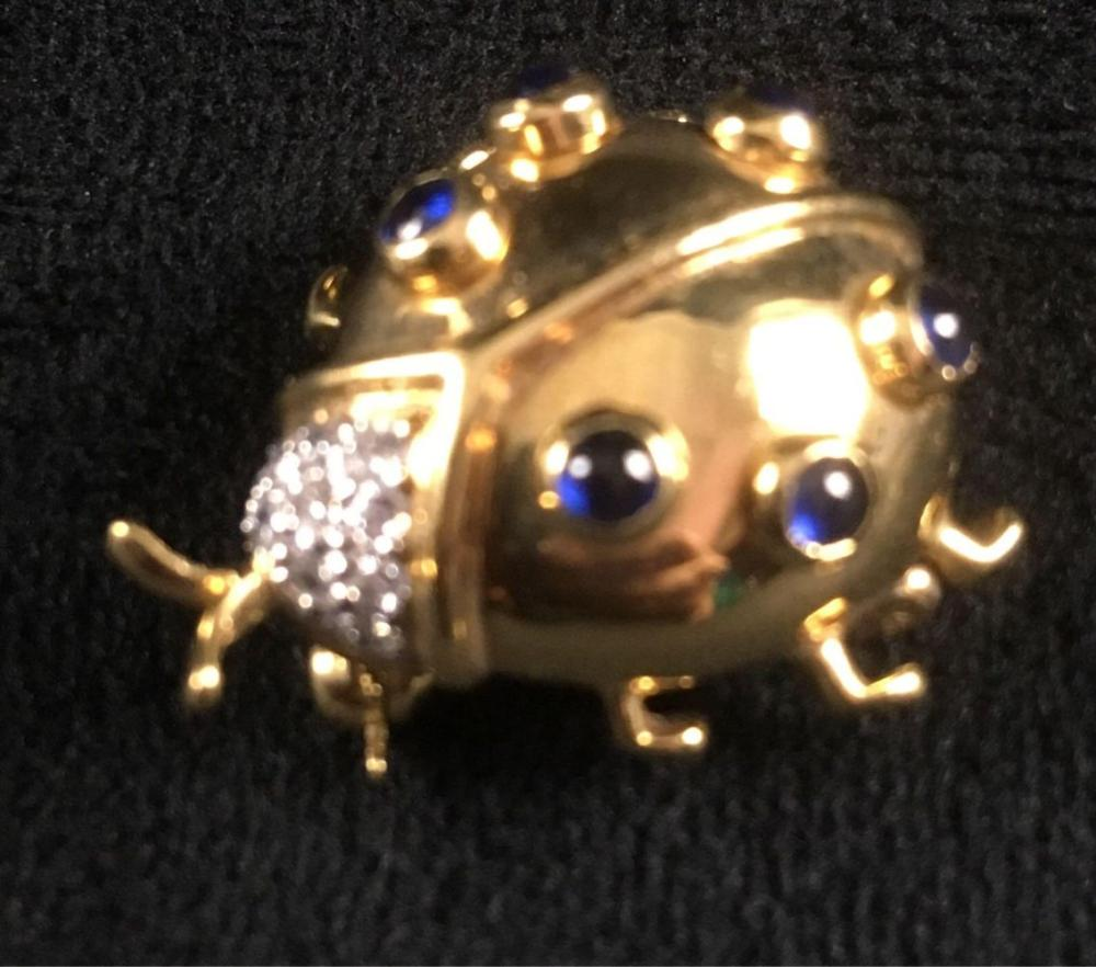 Lot 468: Vintage 18K Gold Ladybug With Sapphires and Diamonds