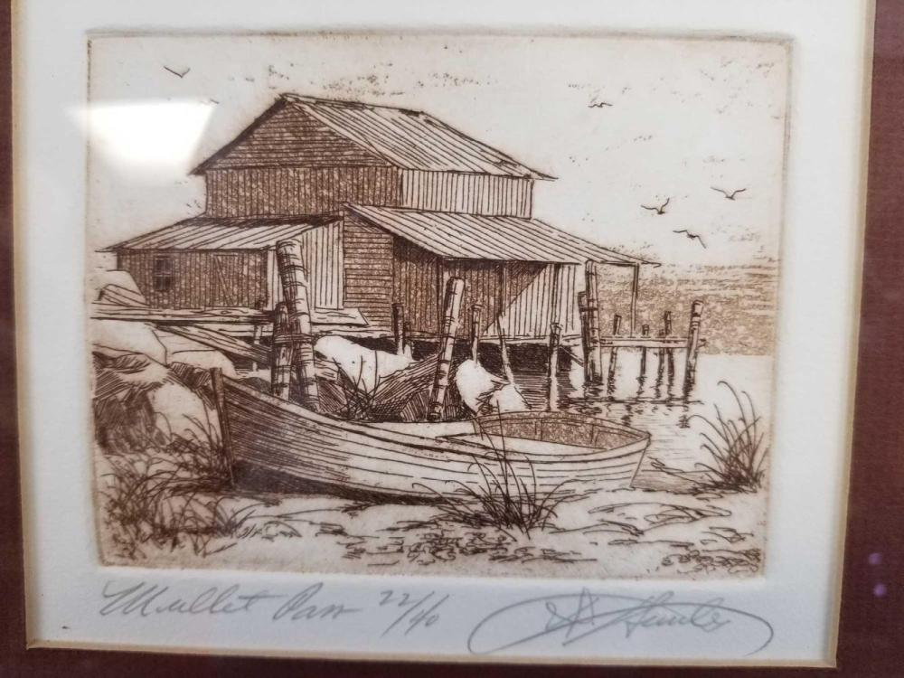 Lot 661: Mullet Pam Framed LE Etching By David Hunter