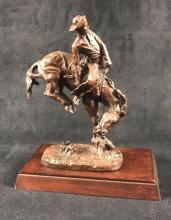 Lot 668: Franklin Mint The Outlaw Bronze Statue with Base