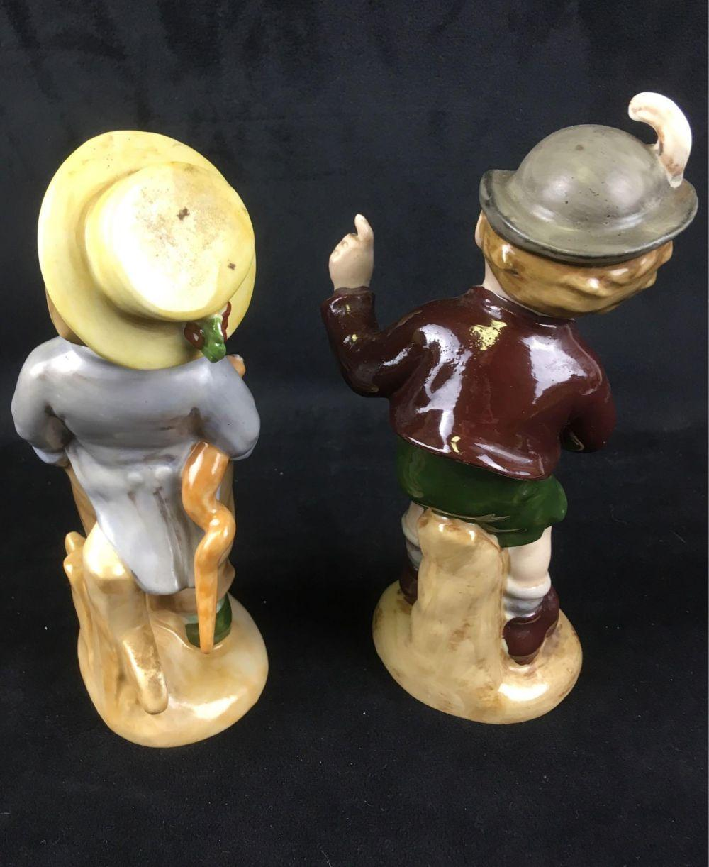 Lot 675: Vintage Pair Wagner and Apel Talkative and Pouting Bavarian Boy Figurine