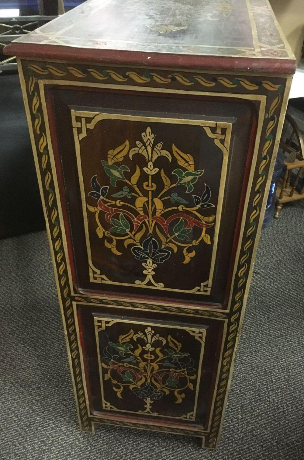Lot 674: Vintage Import Moroccan Hand Painted Upright Cabinet with Drawers