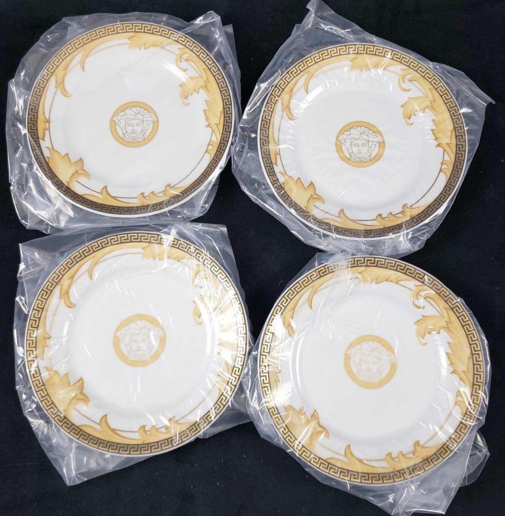 Lot 681: Set of 4 Versace Rosenthal Arabesque Champagne Dessert Plates B