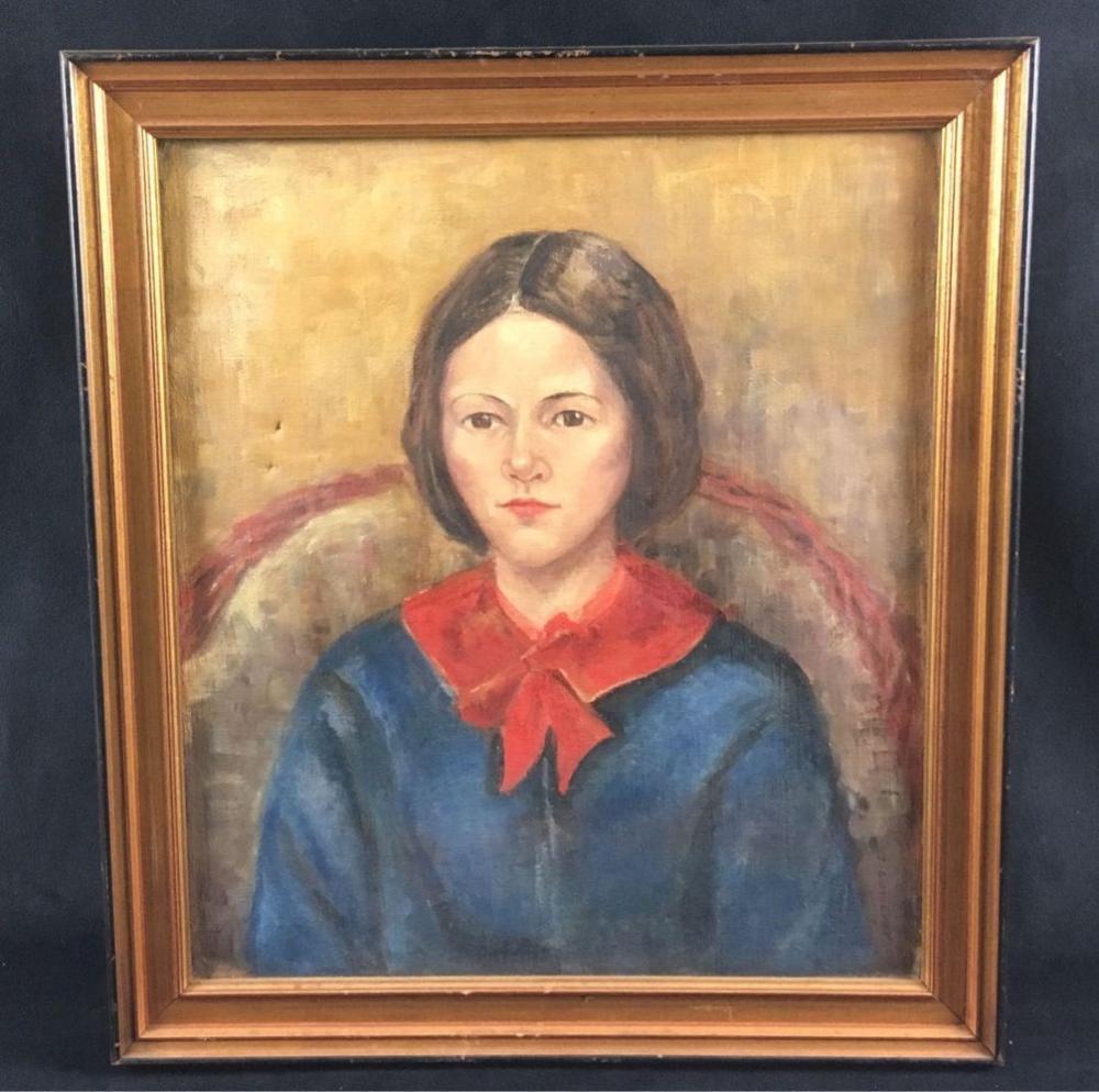 Lot 688: Signed Original Portrait Oil Painting