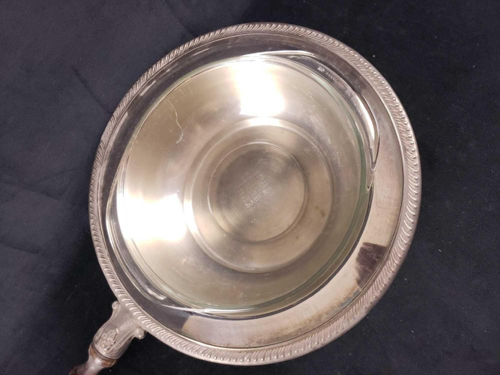Lot 702: Silver Plated Bowl with Lid Handle and Pyrex Bowl