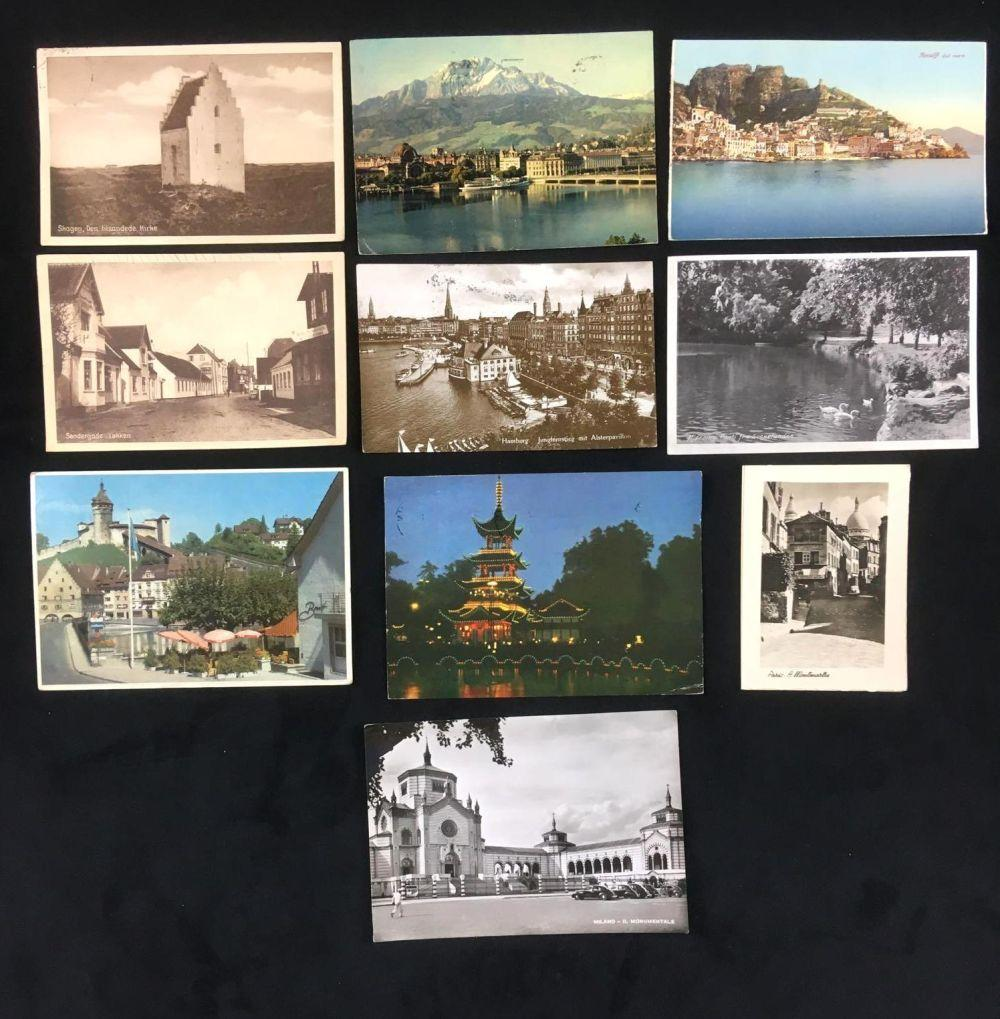 Lot 715: Lot of Vintage Post Cards from a European Visit of 10 Pieces from 1954