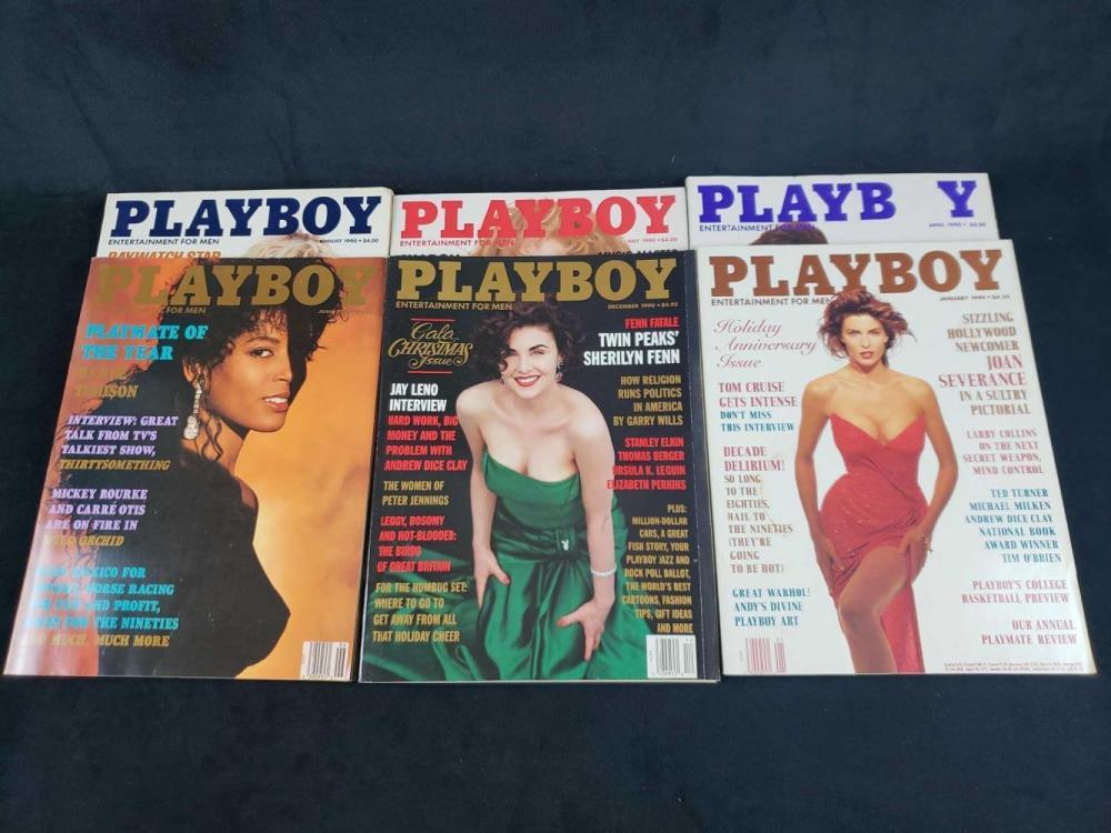 Lot 719: Twelve 1990 Playboy Magazines