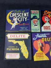 Lot 739: Lot of 9 Florida Orange Crate Labels