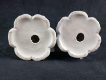 Lot 757: Porcelain Rose Candlestick Holders