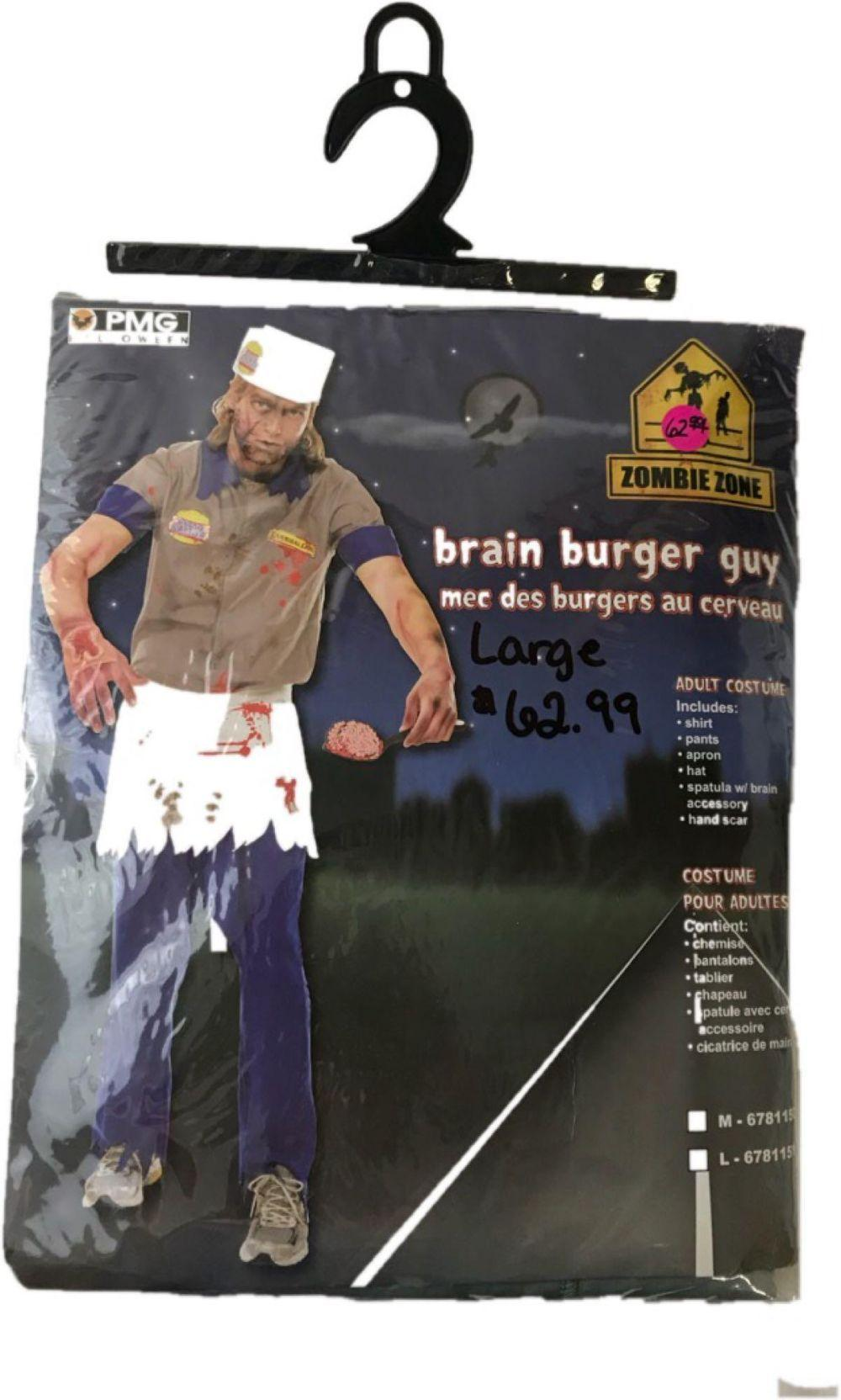 Lot 761: Halloween Costume, Brain Burger Guy, Cannibal Carl from Zombie Zone, NOS