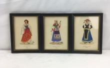 Lot 771: Set of 6 Framed Prints of Italian Traditional Dress, Hand-produced