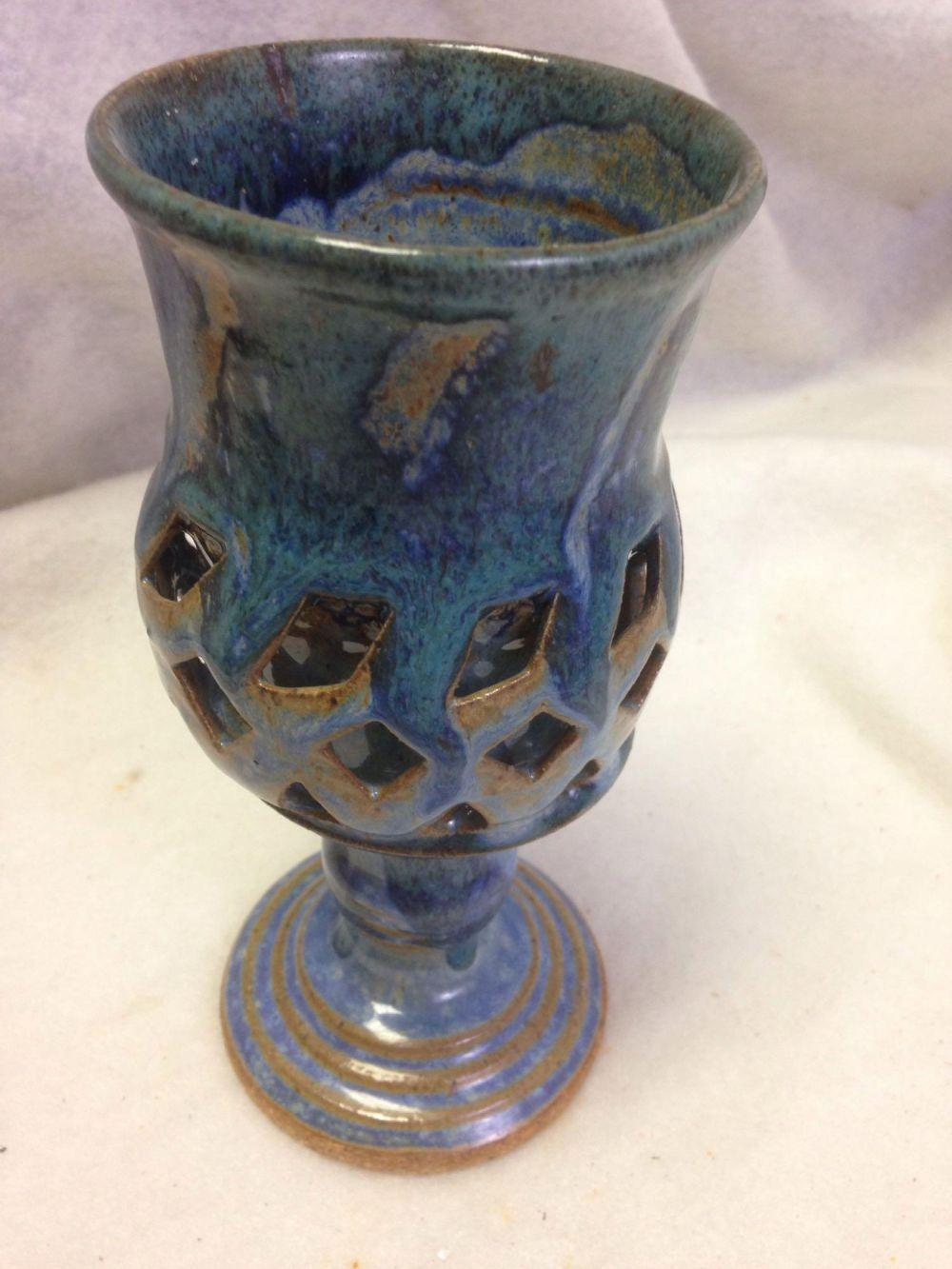 Lot 776: Nice woven clay 2 layer design wine glass goblet
