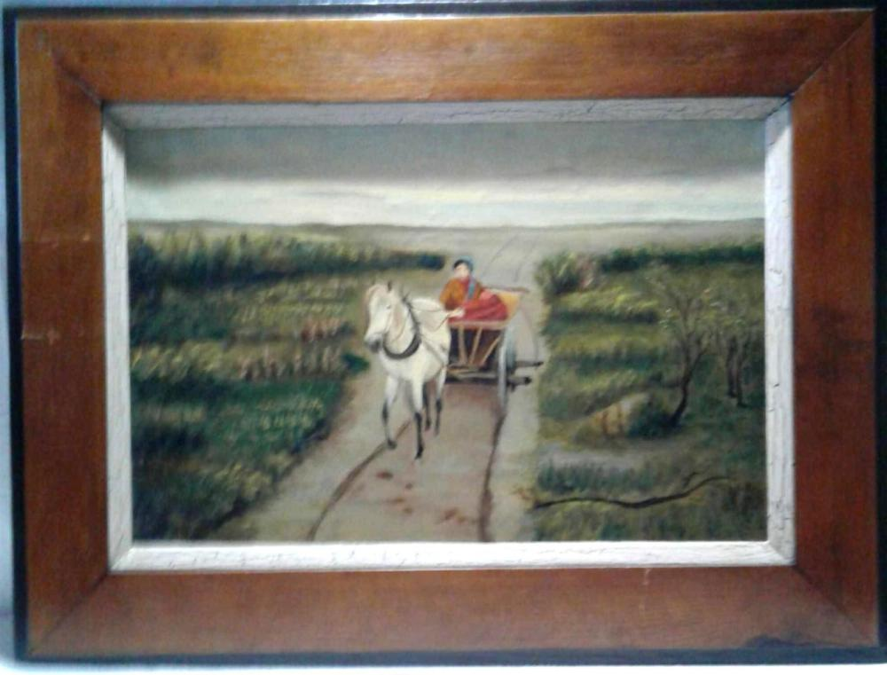 Lot 777: Horse Drawn Wagon with Women Painting