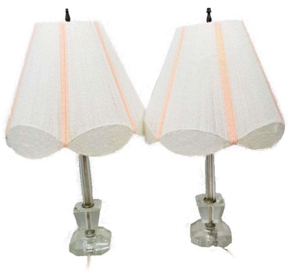Lot 784: 2 Mid-Century Lucite Lamp String Shade