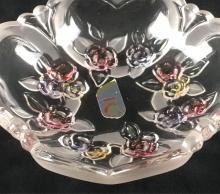 Lot 786: Glass Basket with Floral Design