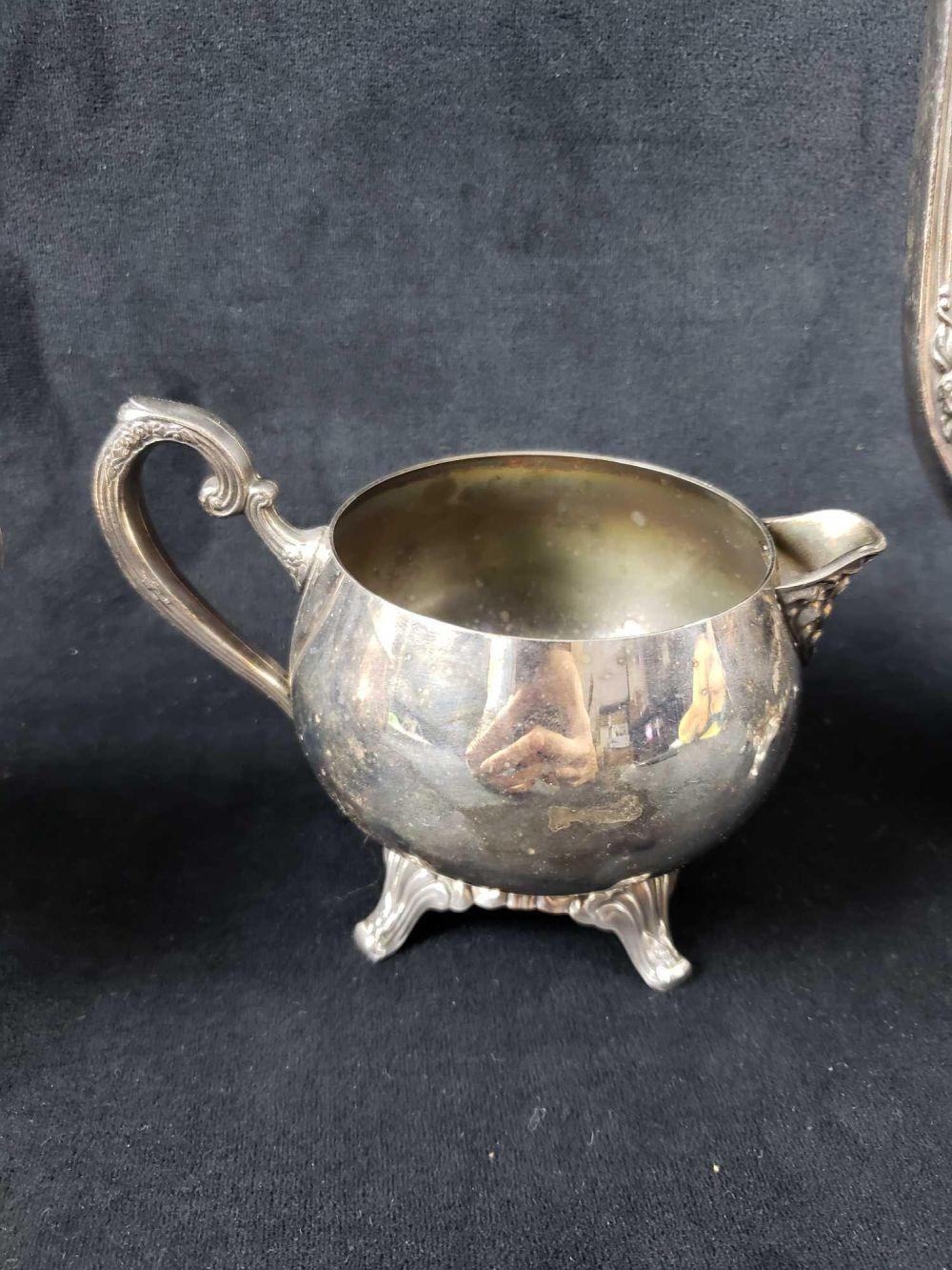 Lot 790: Silver Plated Footed Tea Set