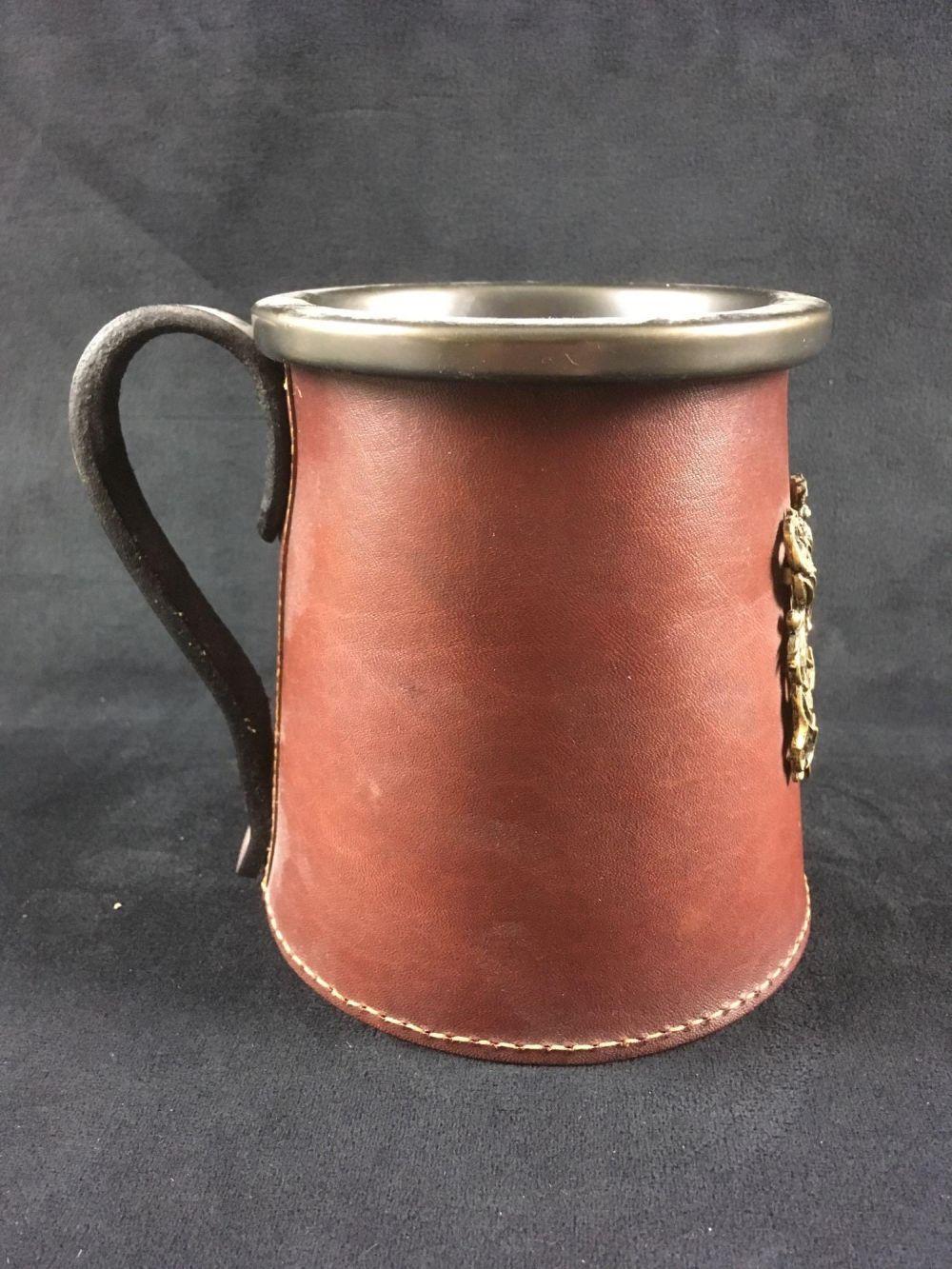 Lot 787: English Beer Mug with Leather Sleeve