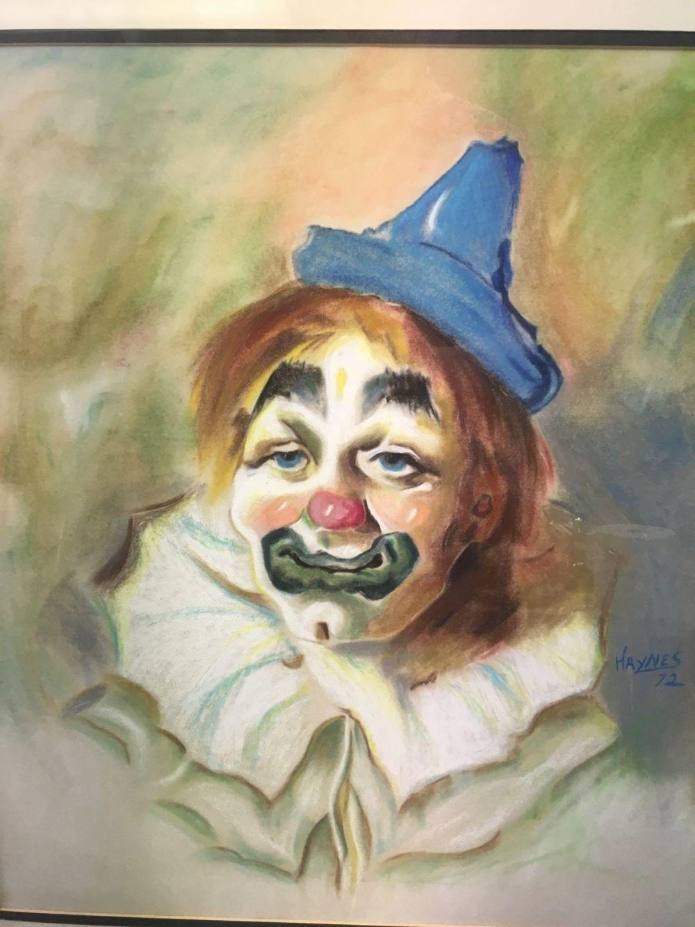 Lot 791: Vintage Original Chalk Pastel Art Clown Portrait Signed Haynes
