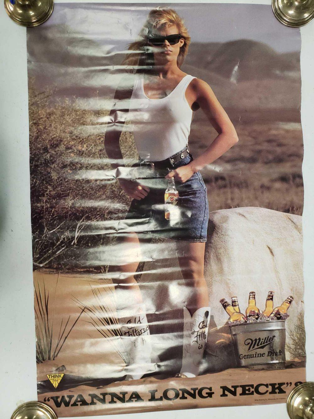 Lot 796: Miller Lite Wanna Long Neck Advertisement Poster