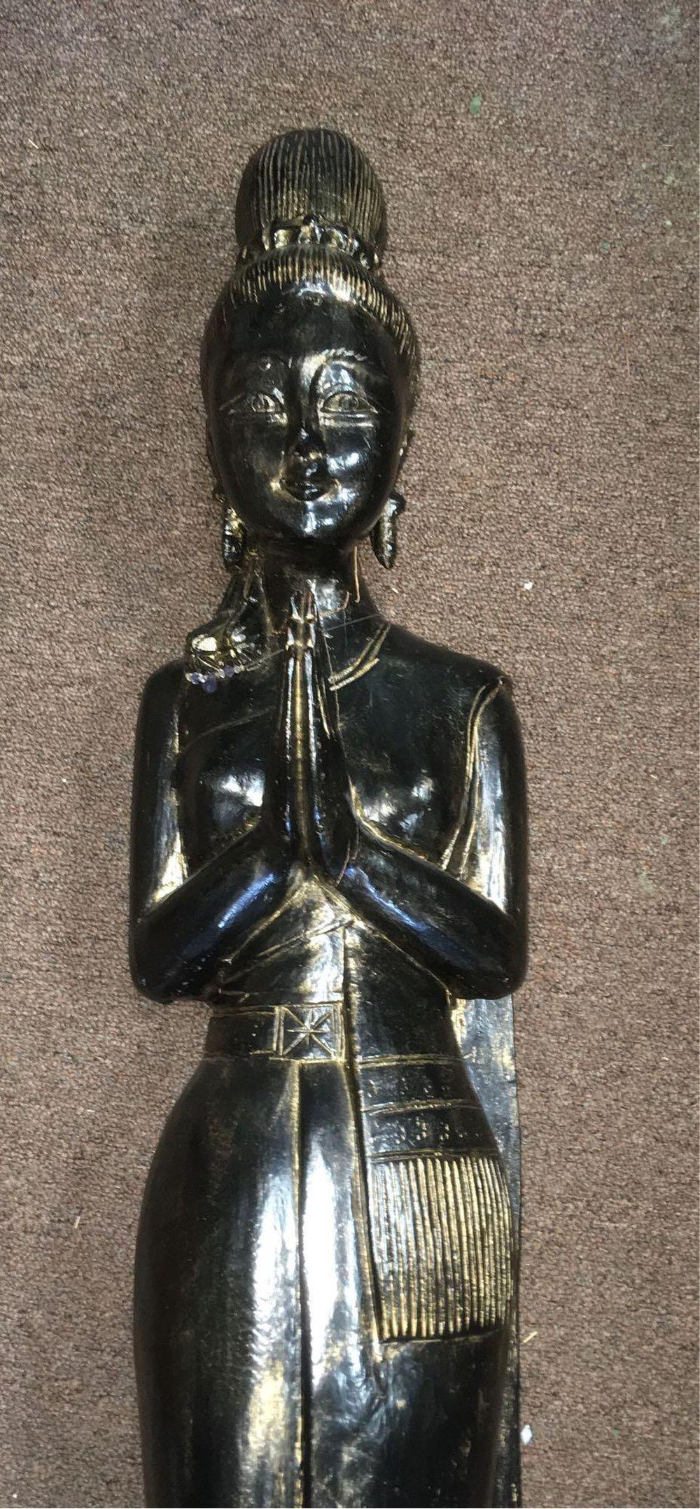 Lot 795: Oriental Carved Statue Siam Thailand Maiden 3