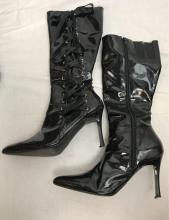 Lot 819: Sexy Vinyl Boots with long laces Funtasma brand - Women's Size 7